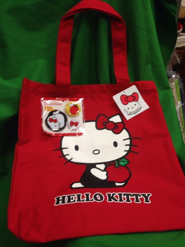 Sanrio Hello Kitty 35th Anniversary Ltd Ed Red Canvas Tote Bag w/ Bonus Pins NWT