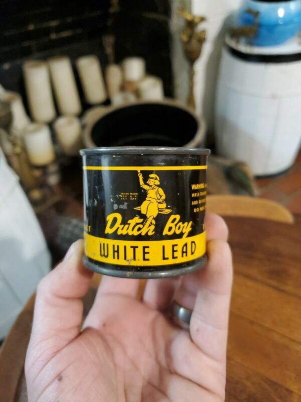 Vintage Dutch Boy White Lead Can 1lb Tin Advertising National Lead Company Full