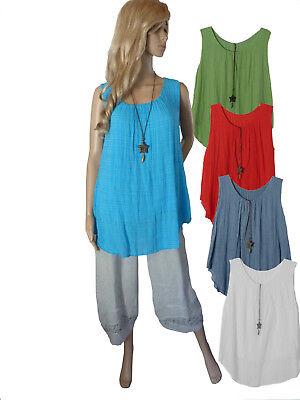 Dichter Tunika Top (EG 40 42 44 46 48 Sommer-Top Tunika Bluse Shirt blickdicht 6 Farben ITALIEN)