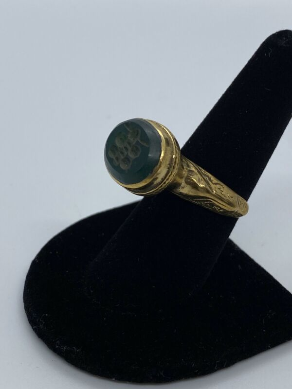 Ancient Handmade Green Butterfly Intaglio Cased Gold Ring