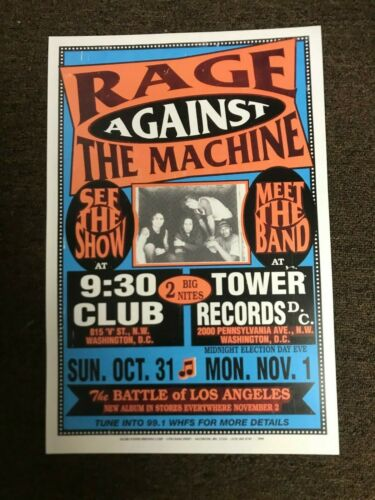 Rage Against the Machine 1999 Washington DC Cardstock Concert Poster 12x18