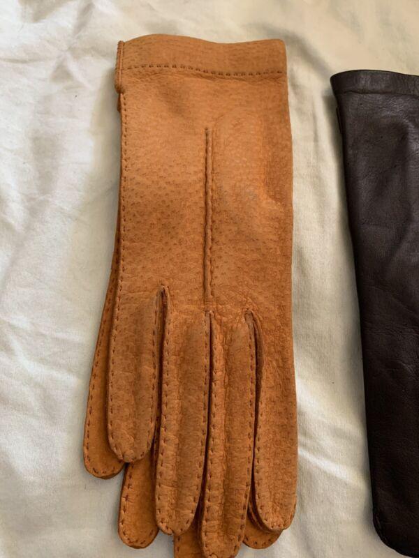 Beautiful Vintage Italian Nubuck Leather Ladies Gloves Size 7 Supple UNWORN