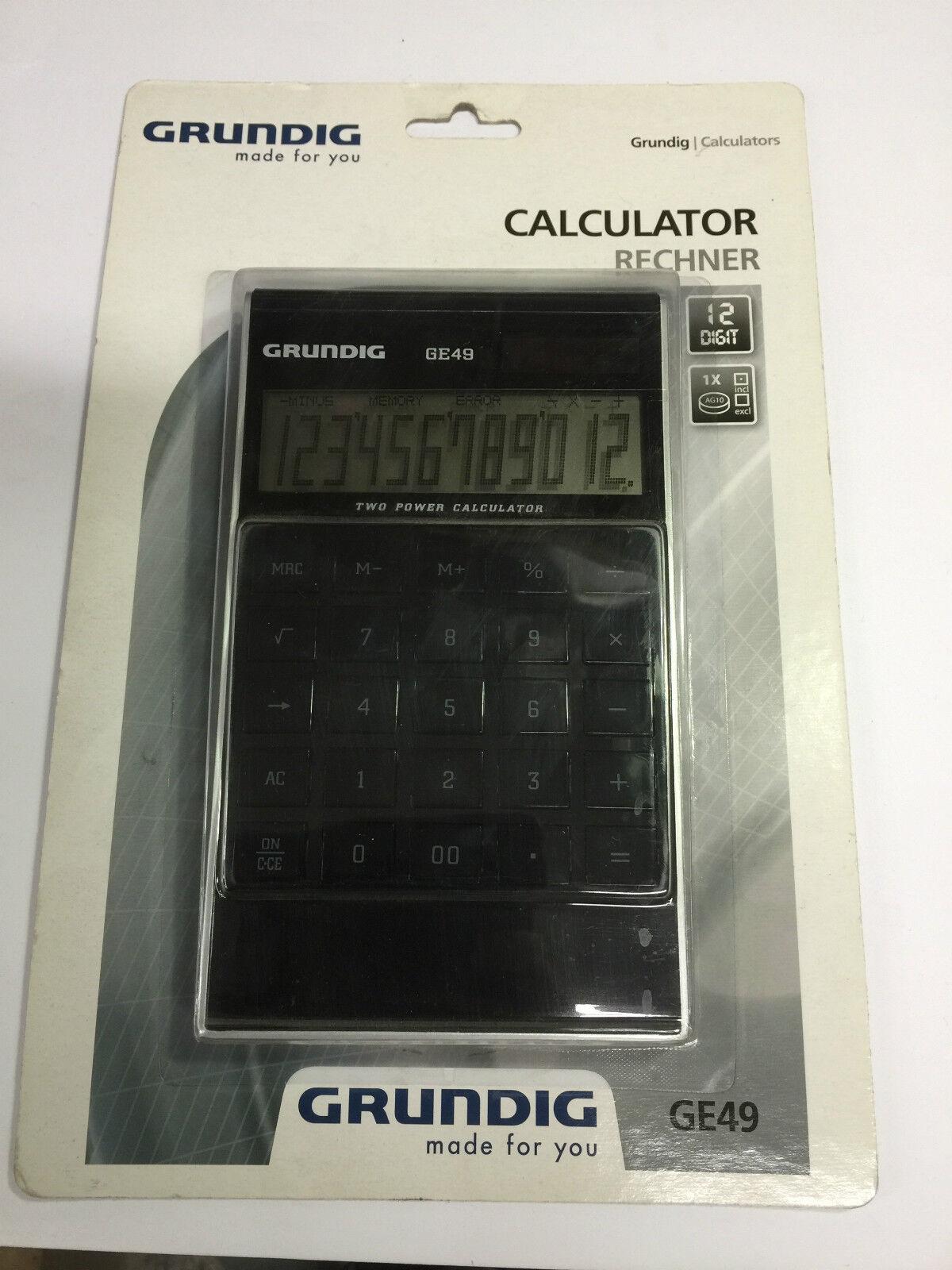 Grundig Dual Power Solar Battery 12 Digit Desktop Calculator Large Buttons New