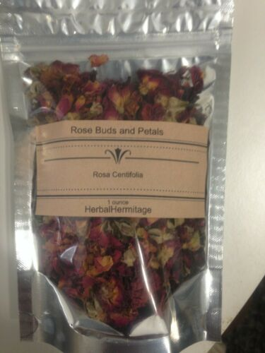 Rose buds and petals, dried, red.  1 ounce package.