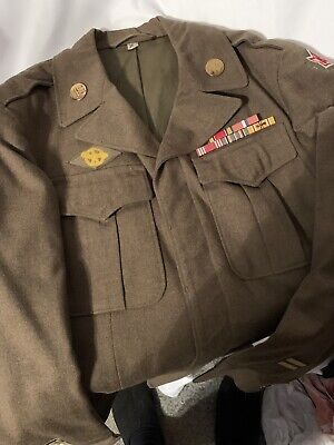 WW2 6th Army Ike Jacket With Ribbon Bars Sz 36