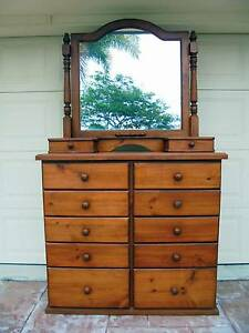 Large Wooden 10 Drawer Chest of Drawers/Dresser with Mirror Rothwell Redcliffe Area Preview