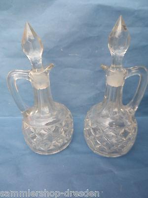 21346 Menage Essig Öl Preßglas Art Deco 20 cm vinegar oil pressed glass