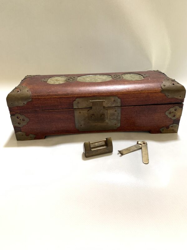 Vintage Wooden Asian Jewelry Box With Brass and Carved Jade Inlay Key and Lock