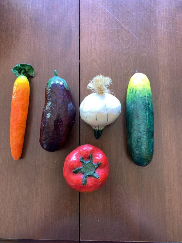 Vintage Paper Mache Vegetable Veggie Cute Carrot Onion Tomato Eggplant Folk Art
