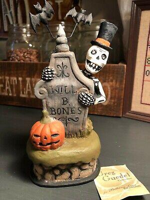 Bethany Lowe Greg Guedel Folk Art Skeleton Grave Tomb Stone Box Halloween Bats