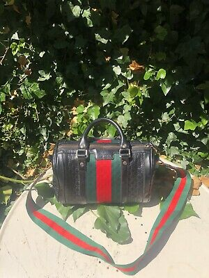 VINTAGE GUCCI Canvas GG monogram Hobo Shoulder/Crossbody In Black