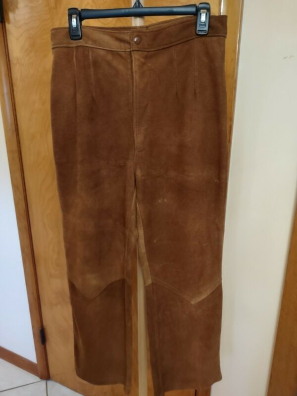 Vtg CLASSIC THURLOW LEATHERWORLD Genuine SUEDE Deerskn Pants 33 Brown MINT-LIKE!
