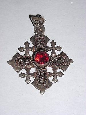 Vintage Jerusalem 900 Jordan Silver Cross with Red Stone Crusader Pendant