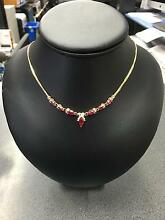 9CT Yellow Gold Necklace with Diamonds and Red Stones Dandenong Greater Dandenong Preview