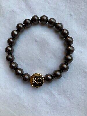 Rustic Cuff Stephanie Pearl Bead Brown/Gold Bracelet - NEW