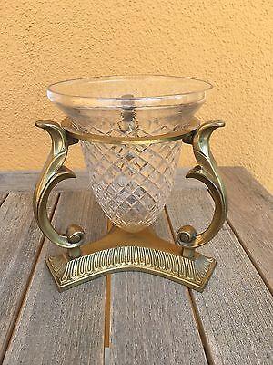 Kristallvase in Metallständer, antik, Glasvase