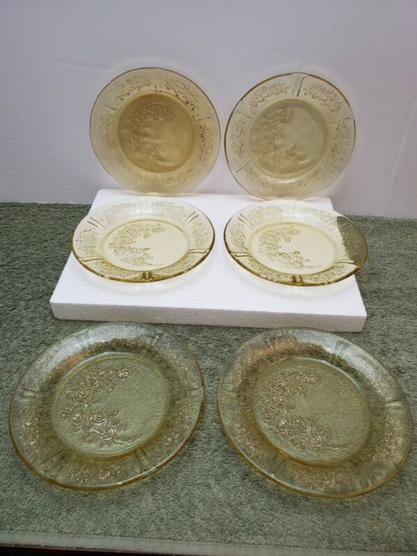"""6 Federal Yellow Depression Glass, Sharon Cabbage Rose 6"""" Bread Plates"""