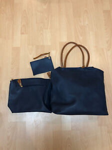 Italian Leather Bags - Set Of 3 Navy/Brown
