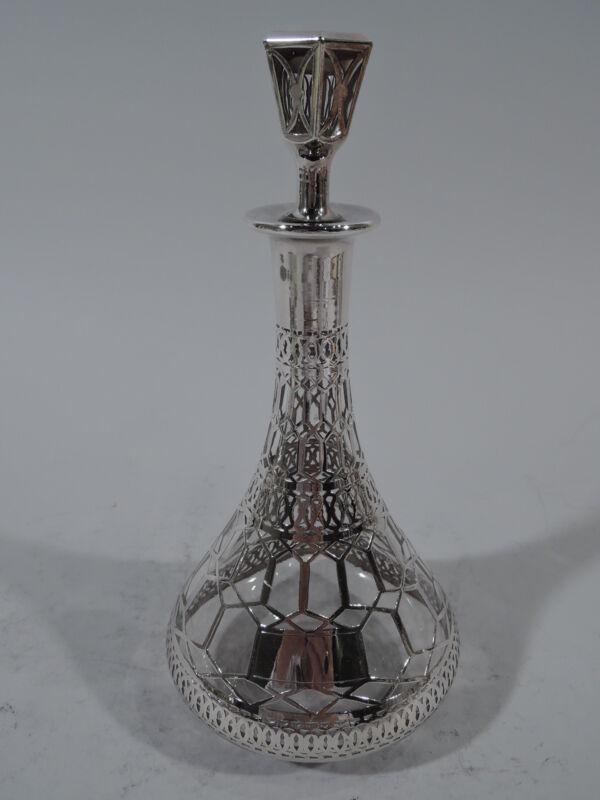 Antique Decanter - Art Deco Modern Barware   American Glass & Silver Overlay