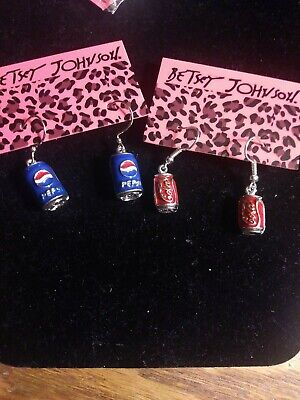 Betsey johnson Pepsi or Coca-Cola can earrings