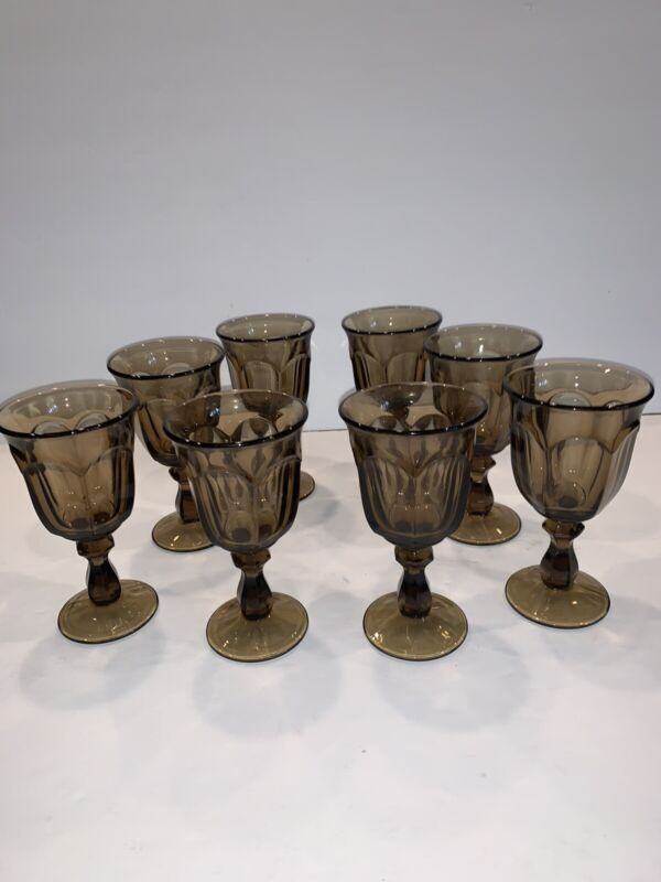 8 Vintage Imperial Old Williamsburg Brown / Smoke Wine Goblet Glasses 5 1/4""