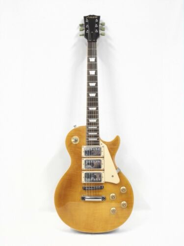 Haze 338ATGD Mahogany Body & Neck Electric Guitar,Gold-Tone Flame Maple+Free Bag