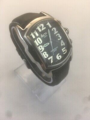 ACTIVA SWISS MANS WATCH (495494) Leather/30M Nice & Guaranteed W/new Battery