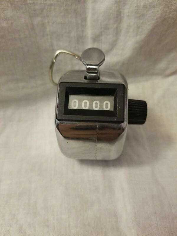 Vintage 4-digit Manual Hand Held Clicker Tally Counter Mechanical Antique