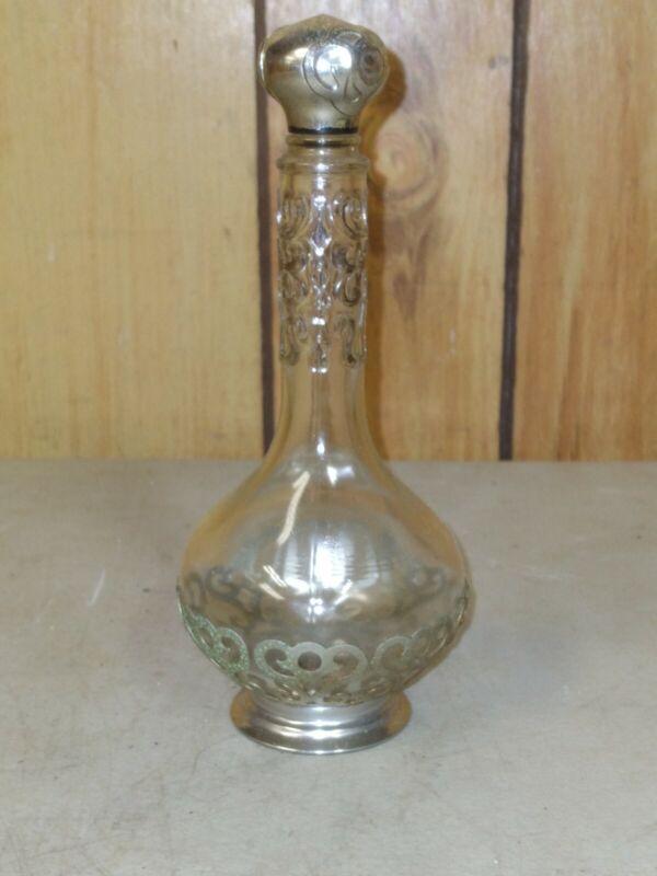 Antique vintage Silver Overlay Perfume Bottle Art Nouveau genie bottle