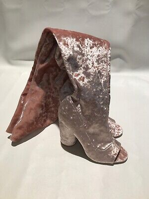 Thigh High Open Toe Sock Boot 8 39 Pink Crushed Stretch Velvet Blush Pale Shell (Open Toe Thigh High Socks)