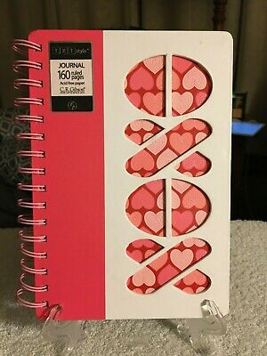 PINK & WHITE JOURNAL, 160 RULED PAGES, ACID FREE PAPER, SPIRAL BINDING, NEW White Paper Spiral