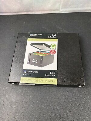 Snap-n-store Collapsible Index Card File Box Holds 1 100 5 X 8 Cards Black