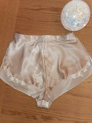 Bnwot St Michael Vintage polysatin Gold French Knickers With Lace Trim Size 18