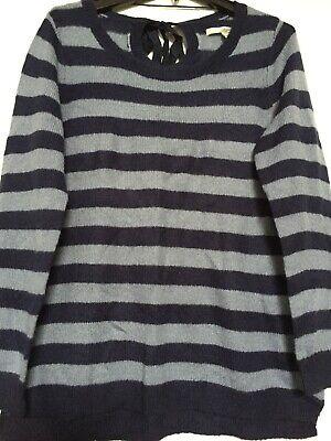 Lauren Conrad LS Bow Tie Back Collar Blue Stripe Sweater WM Size L. NWOT