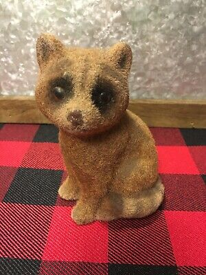 Vintage Flocked Fuzzy Raccoon Figure Statue Forest Animal Great for Easter - Decorations For Easter