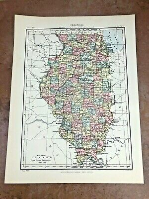 circa 1880s map of illinois ( adam & charles black )