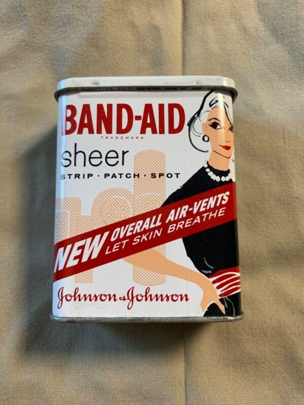 Vintage Band Aid Tin Lady Black Dress Sheer Strips Bandage Box Full Original