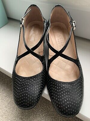 Beautiful Hispanitas Smart Black Leather Ladies Shoes VCG Size 3 UK 36 EU