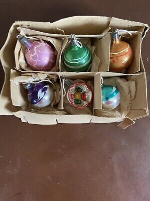 Vintage 50s Christmas Baubles Set Of 6