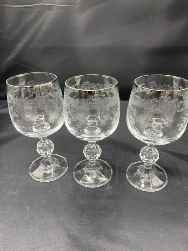 3 VINTAGE FOSTORIA CRYSTAL CLEAR ETCHED Wine GLASSES