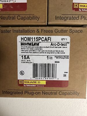 Square D Homeline Hom115pcafi 15amp Plug In Arc-fault Combination New