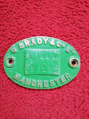 VINTAGE CAST BRASS INDUSTRIAL PLAQUE - G BRADY & CO LTD MANCHESTER