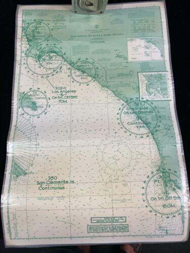 1970 NAUTICAL MAPS, SET OF 3, SAN DIEGO TO SANT ROSA, US- WEST COAST, LAMINATED