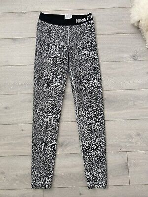 Nike Pro Ladies Black And White Sport Gym Leggings Size Small