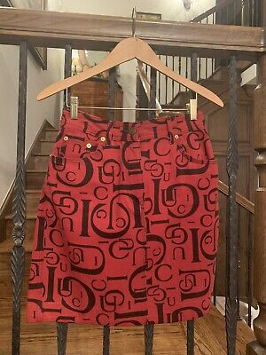 Vintage Gucci Short Jean Skirt Red Black Logo Monogram In Exceptional Condition