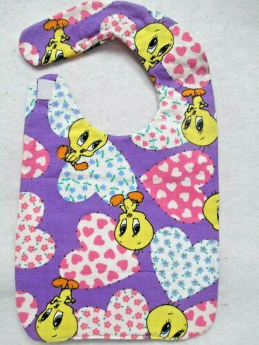 Baby Bib Tweety Bird hand-crafted hook & loop closing reversible $2.95