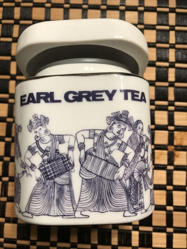 Porcelain Earl Grey Tea Caddy Sri Lanka Traditional Decoration Mlesna Cannister