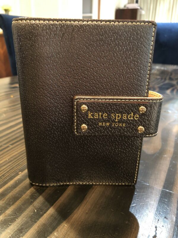 KATE SPADE METALLIC DEBRA PERSONAL Notebook AGENDA BOOK Silver Gold Pink Inside