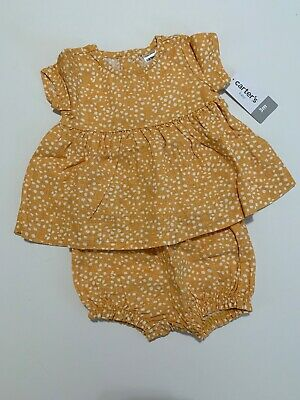 Carters Girls Linen Top Bubble Shorts Size 3 6 9 12 Months Yellow White