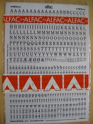 1 x Alfac (like Letraset) Century Old Style 7.5mm 0.295inch 30pt ref 15707.5